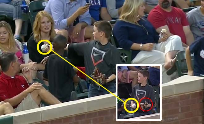 Young boy pulls off slick foul ball trick to impress cute girl. Lessons from a True Player.