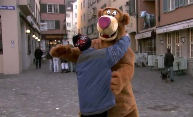 He disguised himself wearing a costume to get a hug. What happens next will make you think!